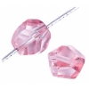 Fire polished 10mm Crystal/pink Dyed Diamond Shape Strung